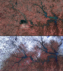 Pre and Post Flood imagery acquired over the Osage River, USA.