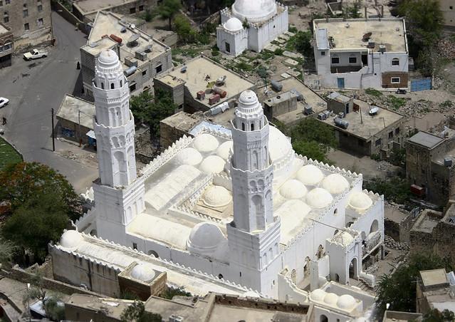 Overview Of A White Mosque, Taiz, Yemen