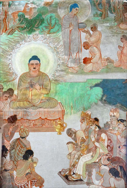 L'enseignement du Bouddha (Temple Mulagandhakuti Vihāra, Sârnâth, Inde)