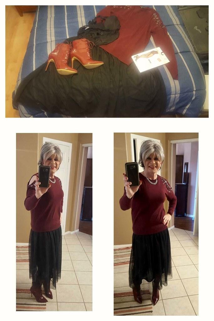 7003077eae Wednesday outfit   Black tulle maxi skirt, Kohl's burgandy c…   Flickr