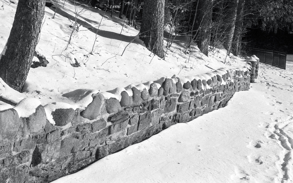 Snow and Stone Retaining Wall