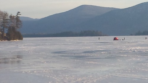 lakegeorge newyork icefishing sunrise ice snow mountains trees