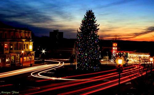 christmastree christmaslights lighttrails lights holidays season sunset town tree colorful christmas weatherphotography massachusetts