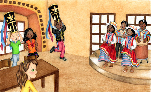 Huayno in Aguas Calientes, Illustration from Molly Goes to Peru | by Chris Oler