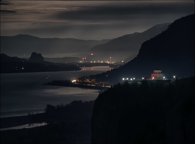 Columbia Gorge under Filtered Moonlight