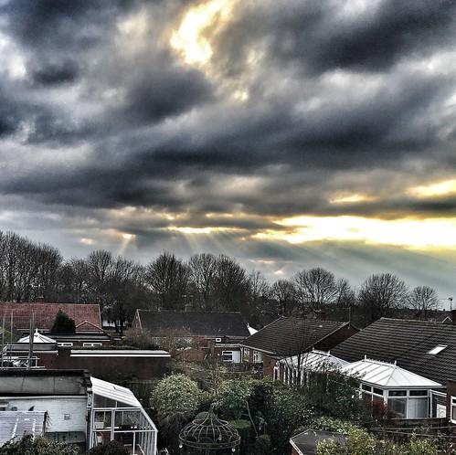 roofview houses house sun sunrays clouds westerhope newcastle sky appleiphone6splus