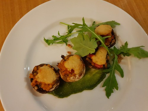 Baby Field Mushrooms stuffed with Pearl Couscous and Sesame Cheese at Two Tables (Graze) | by dimsimkitty