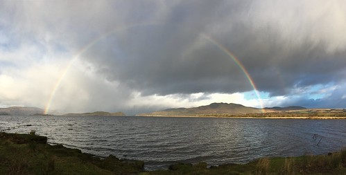 Rainbow panorama from Aber beach, Loch Lomond | by bob the lomond