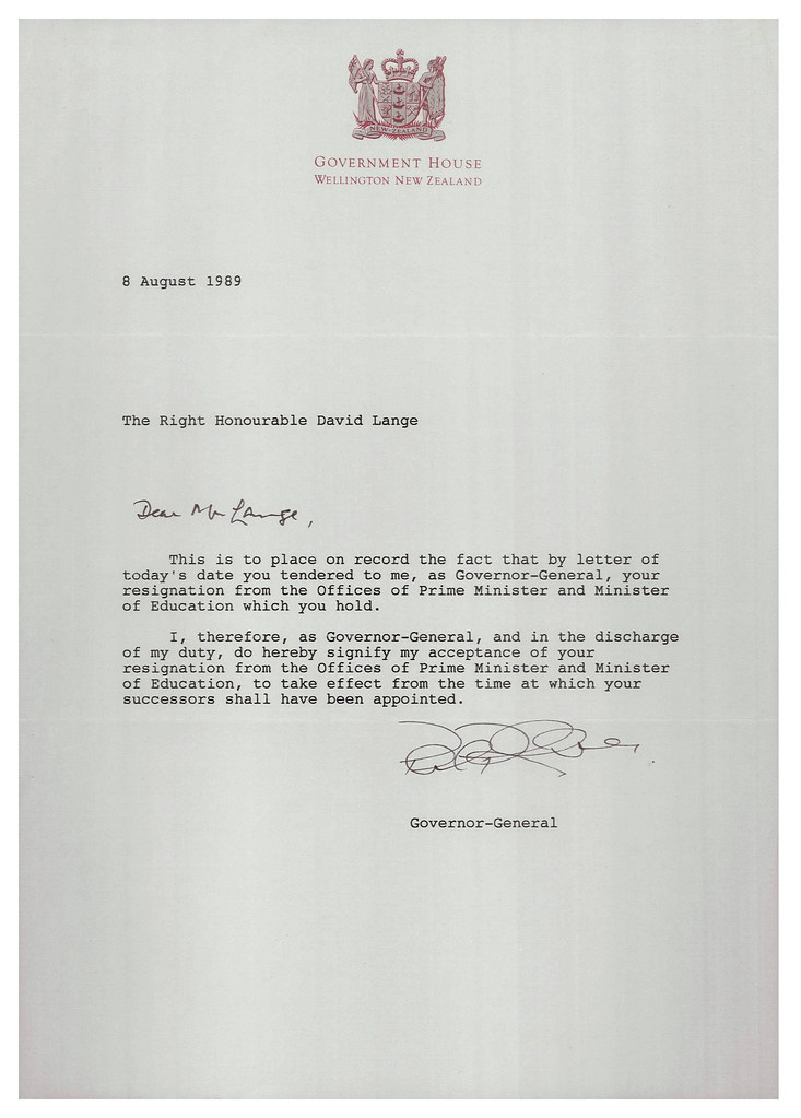 Letter accepting resignation of David Lange as Prime Minis ...