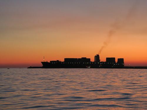 containership ship sunset mersin