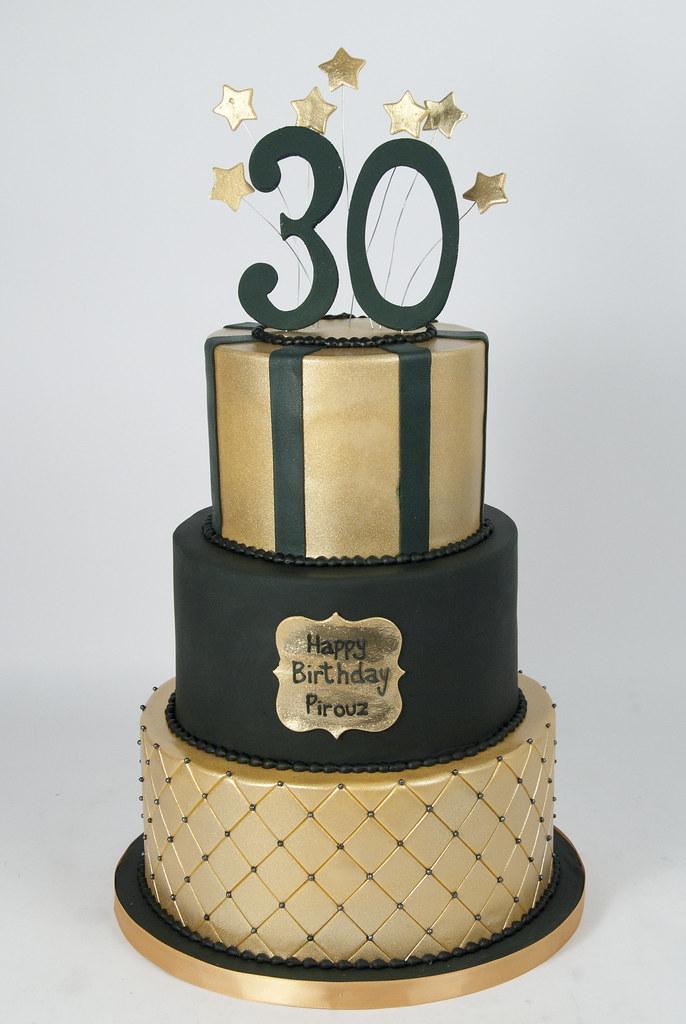 BC4660 Black Gold Guys 30th Birthday Cake Toronto