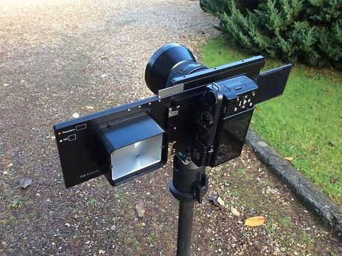Fotodiox Vizelex Rhinocam Fuji to Pentax 645 model. Fujifilm X-M1 camera. Carl Zeiss Jena MC Flektogon 4/50 lens. Pentacon to Pentax 645 mount adapter (Back)