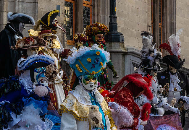 A Group of Performer in Venetian Costume in Bruges  (Market Square - Bruges) (Panasonic LX100-II 43rd Compact) (1 of 1)