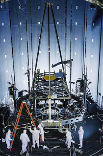 Inside NASA's giant thermal vacuum chamber, called Chamber A, at NASA's Johnson Space Center in Houston, the James Webb Space Telescope's Pathfinder backplane test model, is being prepared for its cryogenic test. Original from NASA. Digit