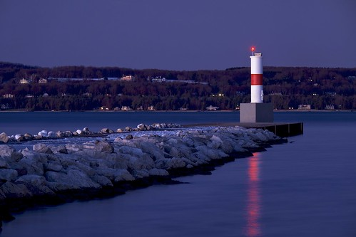 bluehour breakwall breakwater emmetcounty lakemichigan lighthouse littletraversebay longexposure marina michigan night petoskey petoskeymarina reflection sunset twentyseconds water winter
