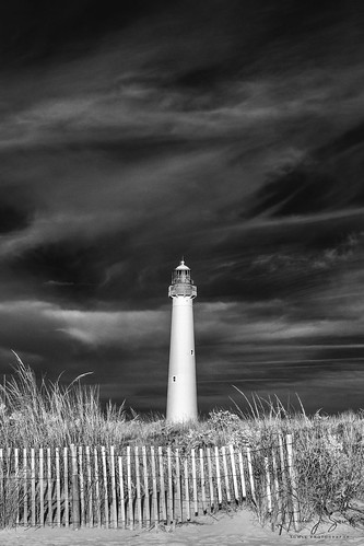 720nm beach capemay ir infrared lightouse monochrome nj newjersey