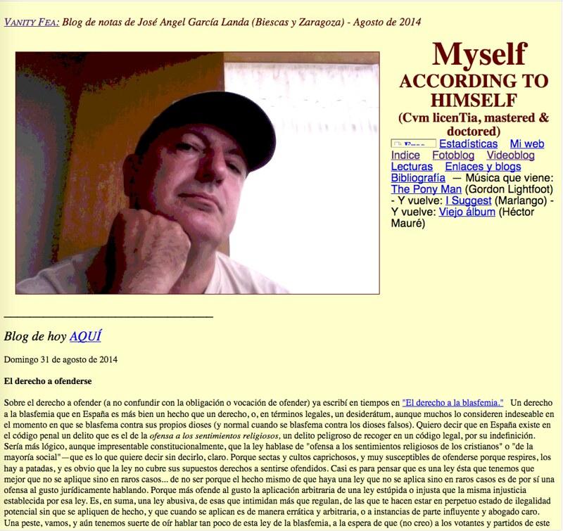 Myself According to Himself: Blog de notas de agosto de 2014