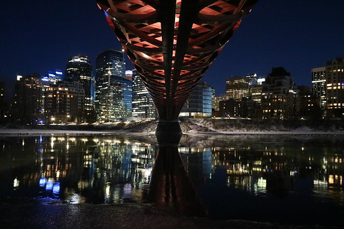 peace bridge calgary alberta canada nighttime reflection underneath 2018