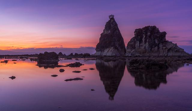 Karang Layar Rocks in the morning glow