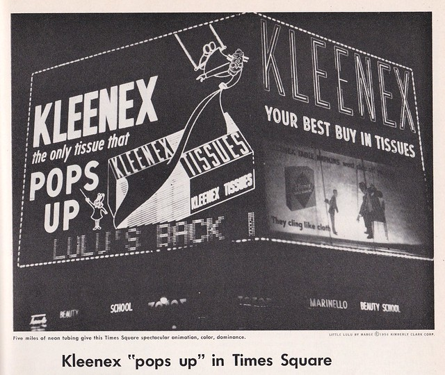 Vintage Corning Glass Works Ad featuring Times Square Kleenex Spectacular by Artkraft-Strauss