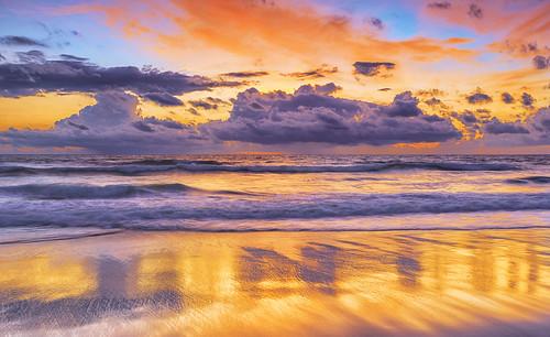 florida jacksonvillebeach sunrise atlanticocean coast beach reflection surf