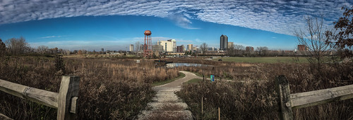 panorama scioto audubon metro park columbus ohio grange center downtown urban city path trail nature skyline water tower wetlands wildlife fence pond landscape wide angle stitched lightroom adobe iphone se iphonese apple mobile phone cameraphone iphoneography colorful multicolored colors fall autumn trees tall grass sky clouds plants blue scenic view