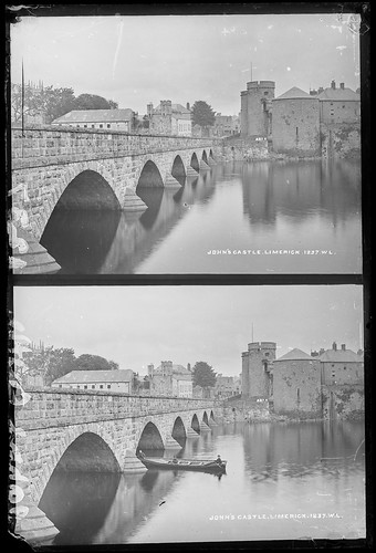 eblanaphotographcollection nationallibraryofireland ireland kingjohnscastle thomondbridge limerickcity shannonriver ganlow fishingboat arches hightide gandelow johnscastle limerick countylimerick shannon bridge treatystone