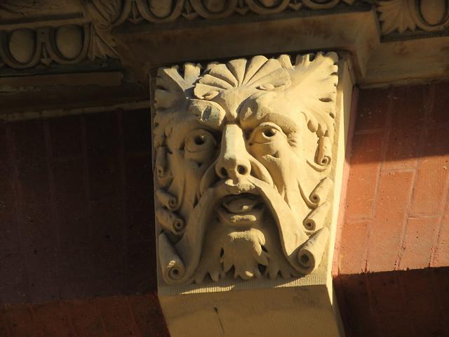Scroll Face Green Man Gargoyle Above Doorway 4821