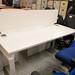 White straight desk with screen E120