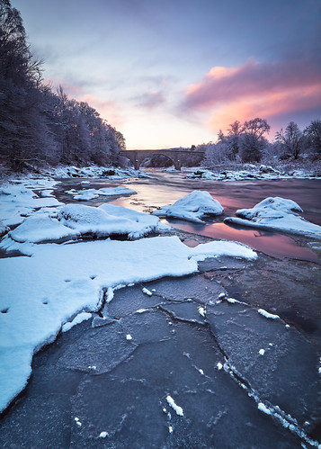 scotland potarch dee river dawn winter snow pink sunrise bridge billhigham landscape ice