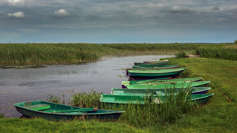 Anglerboote am Engure See