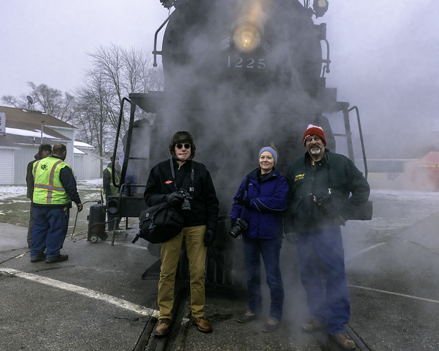 Train chasers Charles, Cathy, and Tom with the Pere Marquette 1225