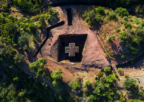 aerialview africa amhararegion ancient architecture builtstructure carving christianity church colourimage colourpicture cross day drone ethiopia ethiopia18dr0231 famousplace fullframe giyorgis history horizontal hornofafrica internationallandmark lalibela medieval monolithic monument nopeople orthodox orthodoxchurch outdoors photography placeofworship religion rock saintgeorge scenics spirituality stgeorge stgeorgeschurch traveldestinations unescoworldheritagesite et
