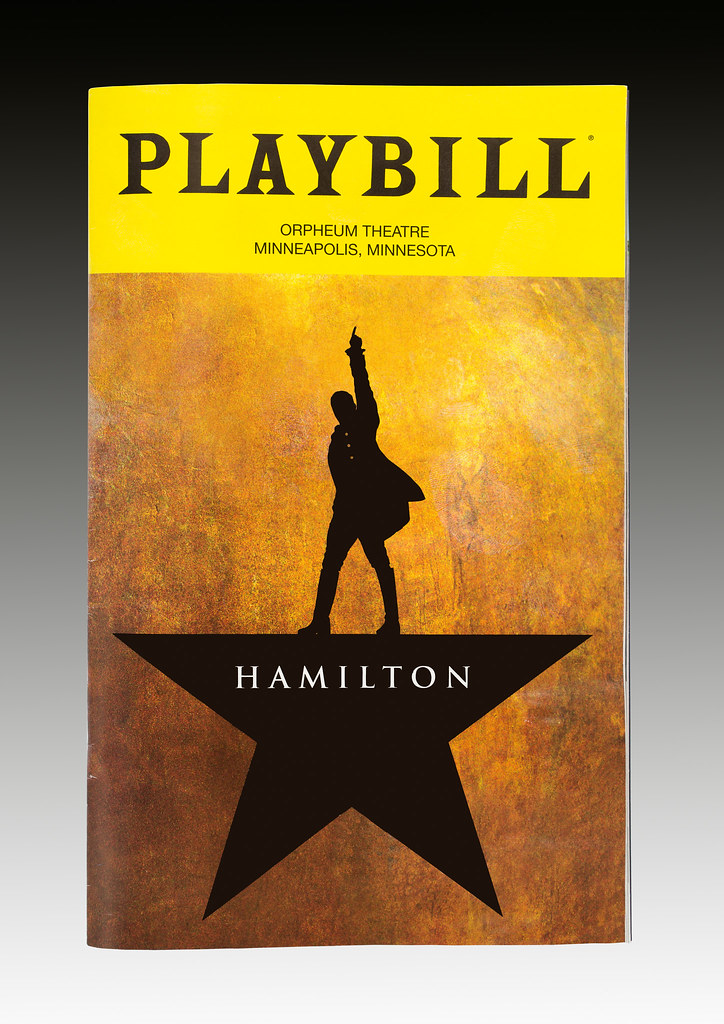 The playbill for the musical Hamilton at the Orpheum Theat