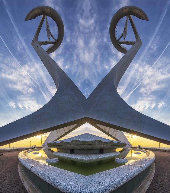 Montjuic Olympic Ring. Mirror