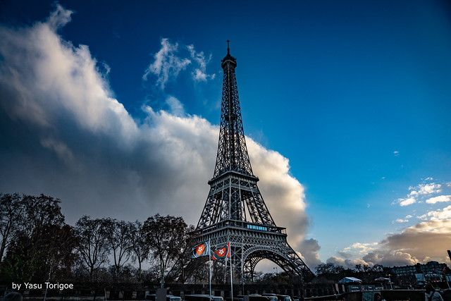 View of the Eiffel Tower during the First Phase of the Seine River Cruise at Sunset, Paris, France -40a