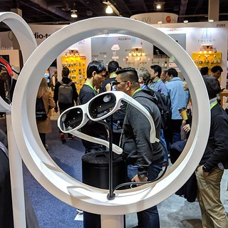 Some AR/MR glasses by nreal. These have a display and integrated cameras and require a tethered connection to the system/battery pack. Most AR glasses on display on the show floor either we're very large or were compact but with much reduced vertical fiel | by Coach Ota