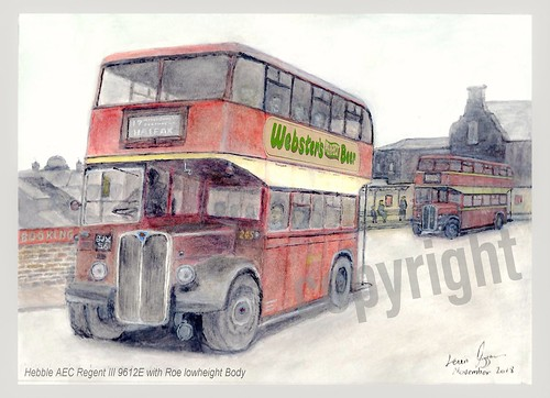 My latest painting of Hebble AEC Regent ||| 9612e Roe of 1949 at Chester Street Bus station. Routes 17 via queensbury and route 7 via shelf interworked taking 2 and a half hours for full trip. Childhood memories.Webster's ad photoshopped in not on origina
