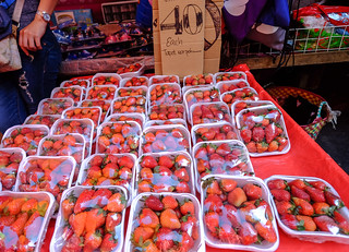 Red strawberry fruits at rural market | by phuong.sg@gmail.com