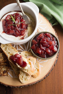 Crostini Topped with Baked Brie and Wine-Poached Pear Compote | by Isabelle @ Crumb