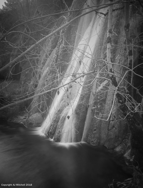 Waterfall through old theatre gells