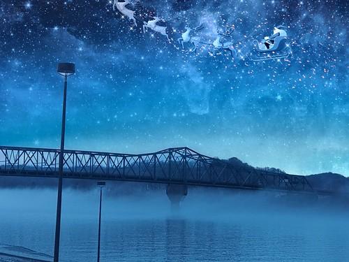 rcvernors ''twasthenightbeforechristmas christmasnight nighttime night blue structuralsteelbridge 6thstreetbridge ohioriver westvirginia wv huntingtonwv christmas magic reindeer sleigh santaclaus santa