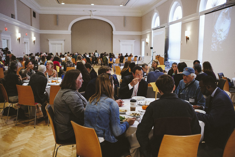200 guests gathered for a free, public feast of precolonial foods prepared by the I-Collective and participants in the Indigenous Foodways Workshops.   University of Virginia Food Symposium, Our Evolving Food System: From Slavery to Sovereignty  11/18/2018 Photo credit: Ézé Amos