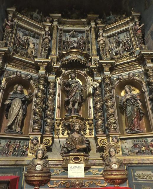 Retable de Saint Vincent (1714), Lluis Baixa, église Notre-Dame des Anges (1684-1691), Collioure, Côte Vermeille, Roussillon, Occitanie, France.