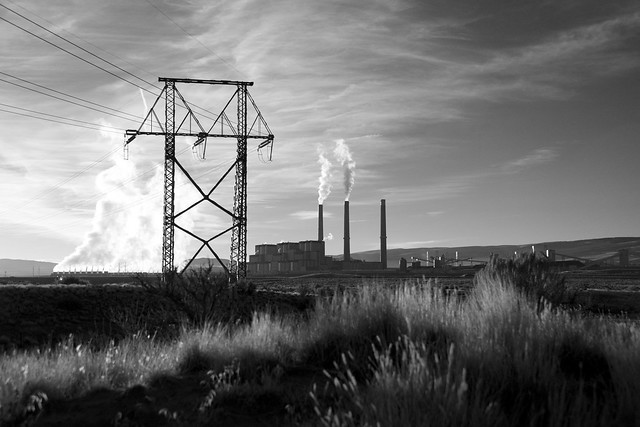Tri-State Power Plant in Black and White
