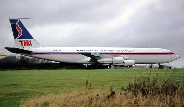 N707DY EGHL 1997 Trans Arabian Air Transport (TAAT) Boeing 707-351C CN 19412