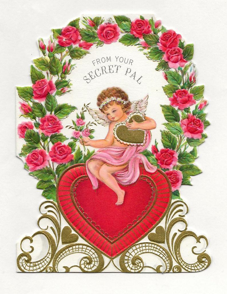 Vintage Valentine Day Card , From A Secret Pal, Ambassador
