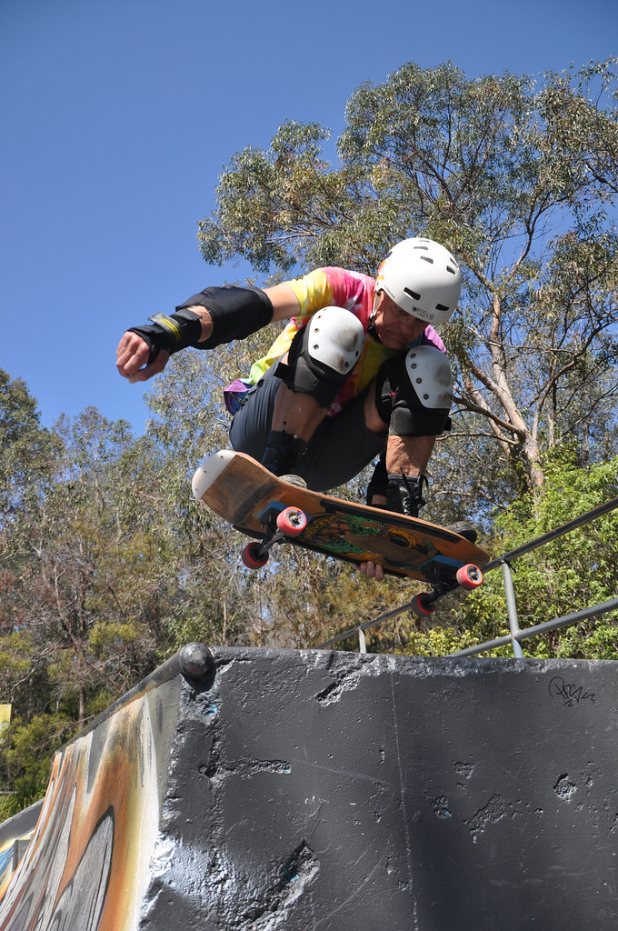 Brättli Airböurne and Martin Hollinger in the Menai Park skatepark in Menai, NSW, Australia in September 2018