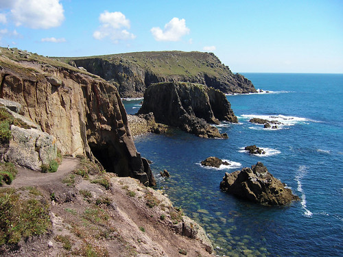 england rock cliff sea stone view cornish cornwall spray swell tall landsend