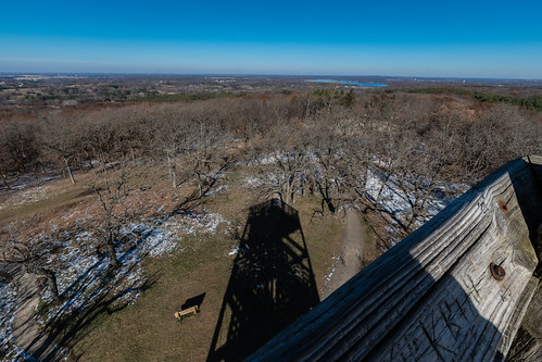weater shadow laphampeak sun iceagetrail observation autumn sky tower waukeshacounty fall blue cold